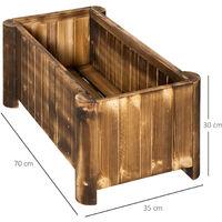 Outsunny Fioriera Box Rettangolare per Piante in Legno di Abete, 70x35x30cm