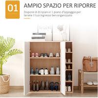 Homcom Armadietto da Parete con 2 Ante Ripiani Regolabili Camera da Letto e Ingresso Legno 80x32x90,5cm