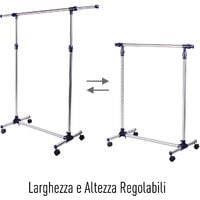 HomCom Stender Appendiabiti Larghezza e altezza regolabili con Ruote in Acciaio Inox 160 x 170cm