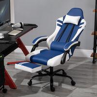 Vinsetto Poltrona Gaming e da Ufficio in Similpelle Blu e Bianca Reclinabile e con Poggiapiedi Estraibile