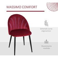 Homcom Set 2 Sedie per Sala da Pranzo Imbottite dal Design Nordico in Metallo e Velluto Bordeaux