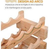Homcom Cantinetta Scaffale Portabottiglie in Legno di Pino 6 Ripiani 72 Bottiglie