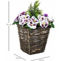 Outsunny Vaso Fiori Finti di Phalaenopsis Viola e Bianchi Pianta Finta Alta 45cm