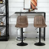 Homcom Set 2 Sgabelli da Bar in Stile Industriale con Altezza Regolabile in Similpelle Marrone