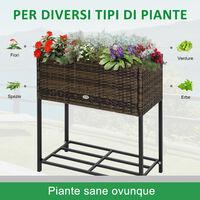 Outsunny Fioriera per Interno ed interno Effetto Vimini con Ripiano Marrone 70 x 30 x 72cm