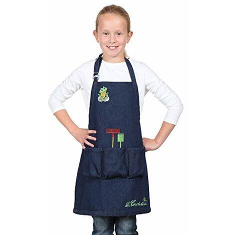 La Cordeline CJN45JEG Grembiule da giardinaggio per Bambino con mostrine/tasche misura 6/8 anni Cotone Blue Jeans H 56 x L 46 cm