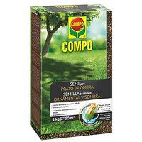 COMPO SEMI per Prato in Ombra, Miscela Speciale, Seme Ricoperto, Resistente al Calpestio, 1 kg