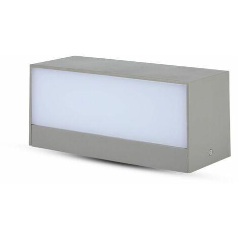 Lampada LED V-TAC da Muro Rettangolare 12W Doppio Fascio Luminoso Colore Grigio 3000K IP65
