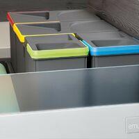 Emuca Poubelles pour tiroir de cuisine, hauteur 266 mm, 1x15L, Gris antracite
