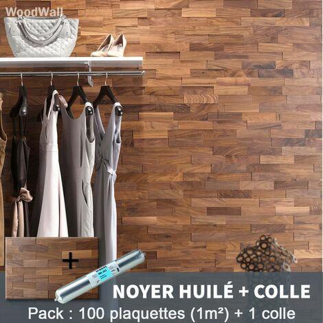 Parement Bois Noyer Huilé 200mm + 1 Colle WoodWall - 1m²