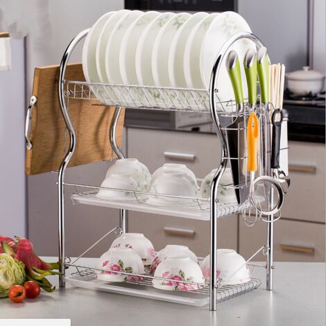 3 alloy layers chrome dish rack cutlery drainer rack dish rack kitchen storage tray with drainer Mohoo