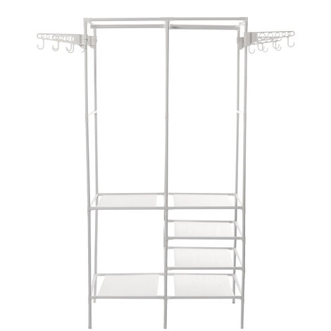 Adjustable Clothes Hanger Rack Standing Shoe Bench 174*44*86CM White
