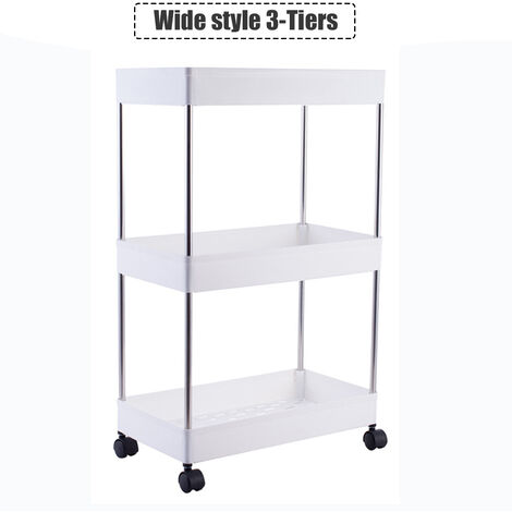 Trolley Cart 3 Tier Utility Rolling Storage Rack Holders Saver Hooks Kitchen Wide Style