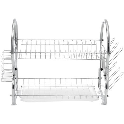 2 Tiers Kitchen Organizer Dish Plate Drying Rack Drainer Dishrack Kitchen Storage With Cups Holder