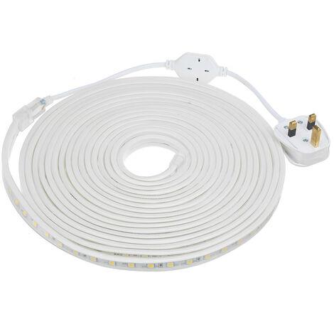 220V 240V LED Strip Lights Rope 5050 SMD Garden Kitchen Decking Waterproof 8M warm white