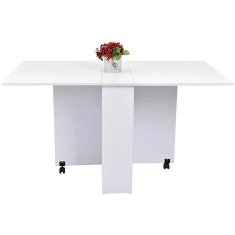Dining Table Folding Desk w/ wheels White