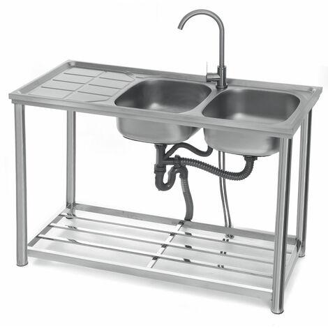 3-Tier Sink Rack Organizer Storage Kitchen Shelf Holder + Double Washing Basin