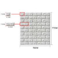 5PCS 70x77cm White 3D Waterproof Tile Brick Wall Sticker Self-adhesive Foam Panel