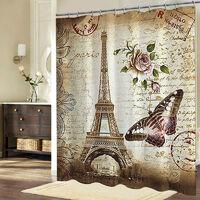Shower Curtain Eiffel Tower Waterproof Hooks +12 180x200 Mohoo