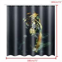 Tiger Waterproof Polyester Bathroom Shower Curtain + 12 Mohoo Hooks 180x180cm