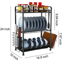 Home Kitchen Dish Plate Bowl Cup Drying Rack Drainer Holder Black 43cm 3 Tier