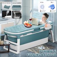 Portable Folding Bathtub Bath Tub SPA Soaking Massage Barrel Blue L size 138x62x52 cm