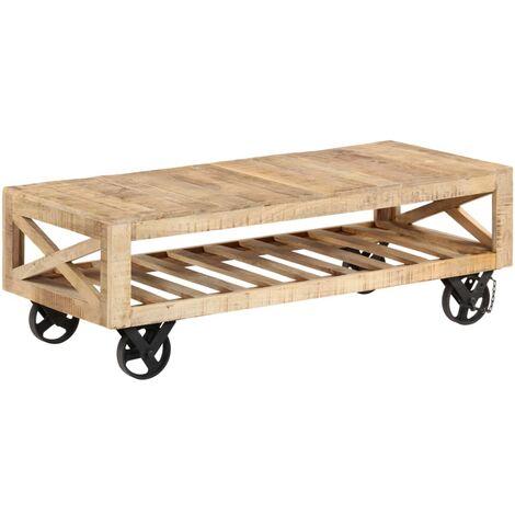 Table basse avec roues Bois de manguier massif 110 x 50 x 37 cm