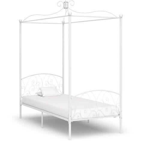 Cadre de lit à baldaquin Blanc Métal 100 x 200 cm