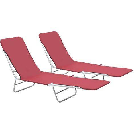 Chaises longues pliables 2 pcs Acier et tissu Rouge