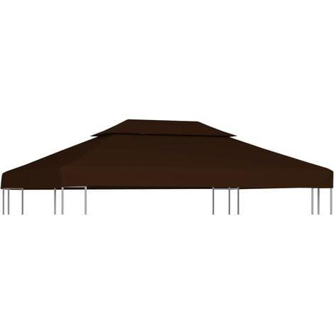 Toile supérieure double de belvédère 310 g/m² 4x3 m Marron