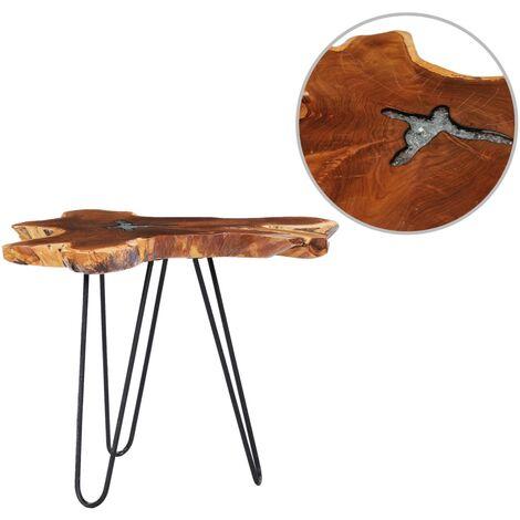 Table basse 70 x 45 cm Bois de teck massif et polyrésine