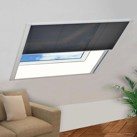 Moustiquaire plissée pour fenêtre Aluminium 120 x 120 cm