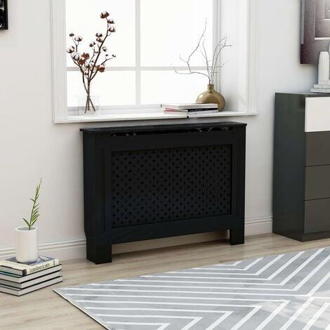Cache-radiateur Noir 112x19x81 cm MDF