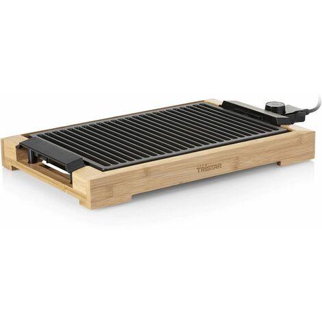 Tristar Plancha et barbecue électrique 2000 W 37x25 cm Bambou