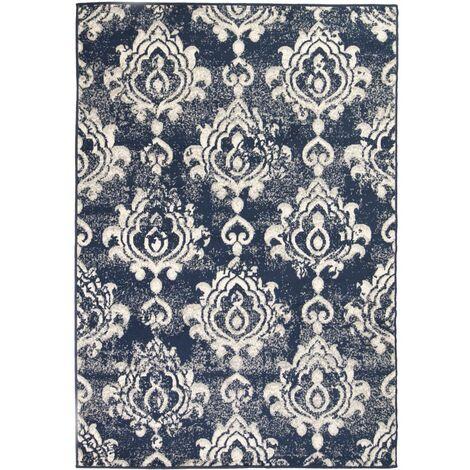 Tapis moderne Design de cachemire 80 x 150 cm Beige / Bleu
