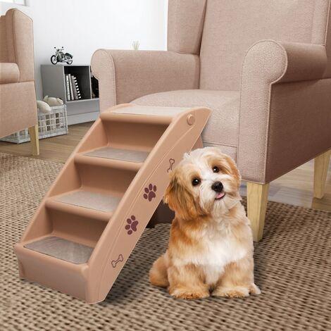 Escaliers pliables pour chiens Marron 62x40x49,5 cm