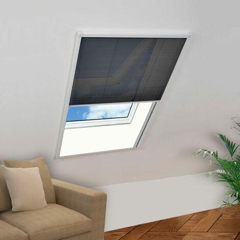 Moustiquaire plissée pour fenêtre Aluminium 60 x 80 cm