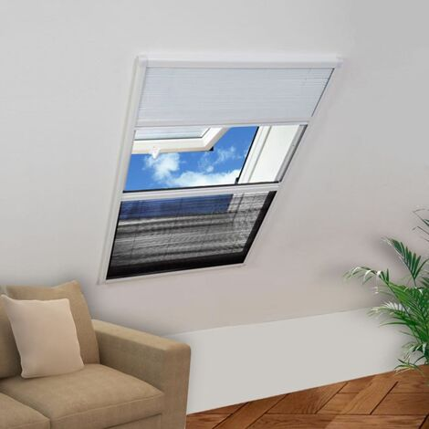 Moustiquaire plissée pour fenêtre et store Aluminium 80 x 100cm