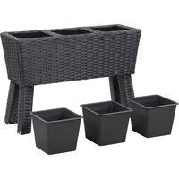 Lit surélevé de jardin et pieds et 3 pots 72x25x50cm Rotin Noir