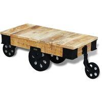 vidal XL Table basse avec roues Bois de manguier brut