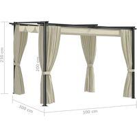 Tonnelle avec rideaux 3x3 m Crème Acier