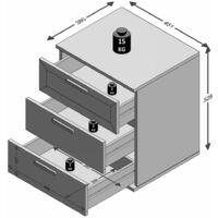 FMD Table de chevet avec 3 tiroirs Blanc