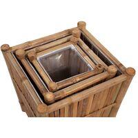 Lits surélevés en bambou avec doublure en nylon 3 pcs