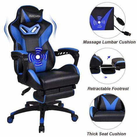 Chaise Gamer Chaises de Bureau à haut Dossier avec Repose-pieds et Support Lombaire Bleu et massage
