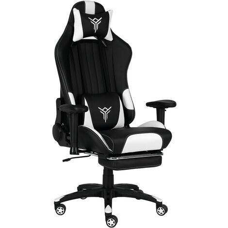 Chaise Gaming avec Repose-pieds Massage Chaises de Bureau à haut dossier support lombaire Blanc