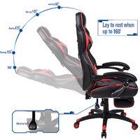 Chaise Gamer Chaises de Bureau à haut Dossier avec Repose-pieds et Support Lombaire Rouge