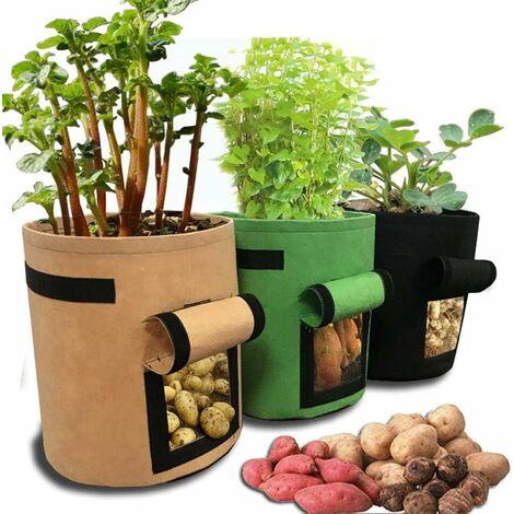 LITZEE Home Sac de jardinage pour plantes de balcon et légumes, récipient pour culture de pommes de terre 30x30x35cm/11.8x11.8x13.8inch noir - 1 sac de culture de légumes.