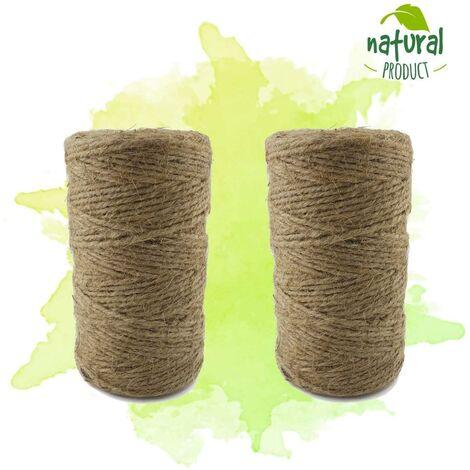 LITZEE Cordons - rouleau de 100 m - cordon de jute - produit naturel de haute qualité pour la décoration des jardins et de l'artisanat - 2 rouleau