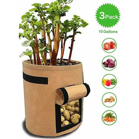 LITZEE Sacs de plantation pour pommes de terre, tomates et autres légumes, tissu polaire respirant, jardinière avec rabat, fermeture velcro et poignée, 3 pièces, jardin, kaki