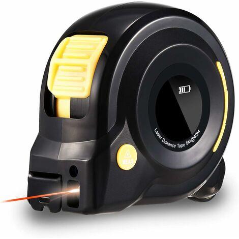 Mètre Laser Numérique 3 in 1,131Ft Télémètre Laser Numérique, Mètre Ruban Laser avec Rétroéclairage LCD pour mesurer la longueur de l'arc, Distance, zone, Le volume